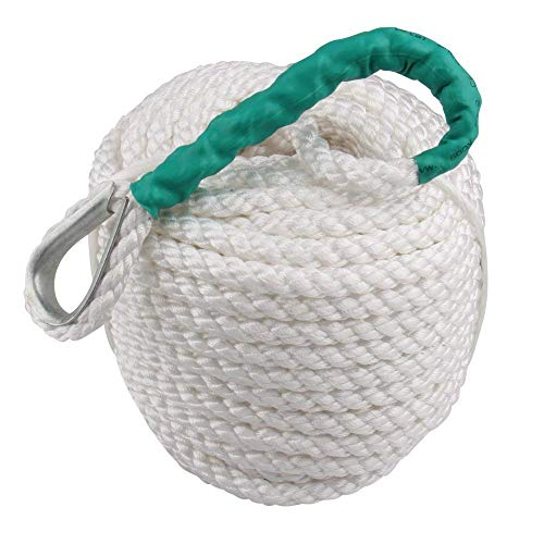 """Bang4buck Twisted Dock line, 1/2"""" x 200' Three Strand Polypropylene Braided Docking Rope Anchor Ropes with Thimble 5850 LB Breaking Strain- Super Strong (1/2 inch 200 Feet)"""