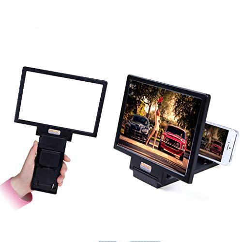 Amplificador de Pantalla, Amplificador de Pantalla de Video de película, fácil para Personas Mayores, Estudiantes y niños para Proteger los Ojos, Soporte para teléfono móvil (Negro)