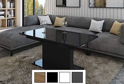 Design Couchtisch Tisch DC-1 Hochglanz stufenlos höhenverstellbar ausziehbar Esstisch (Schwarz Hochglanz)