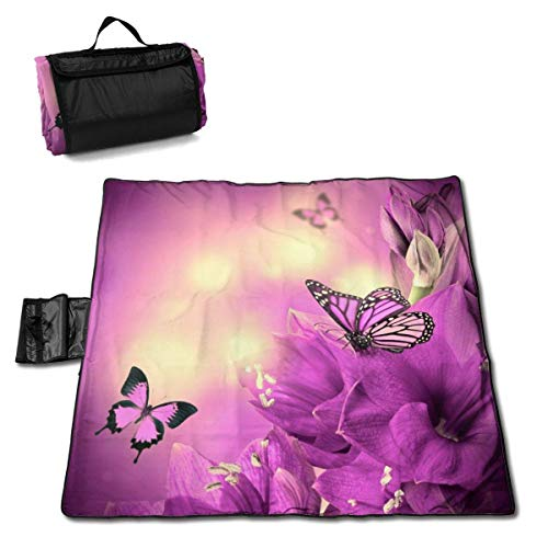 GuyIvan Strand Picknick Decke Lila Schmetterling Handy Matte Faltbare Tasche Musik Festivals Quick Dry Bag