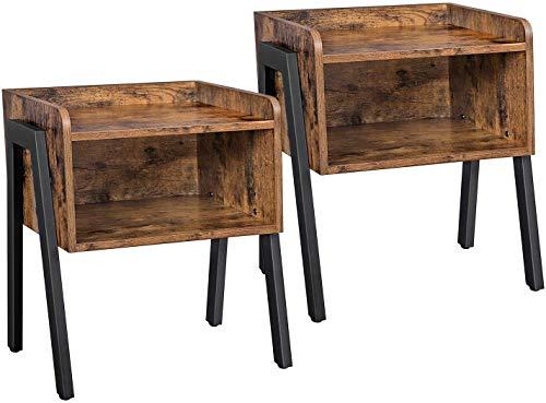 BRTLX Set di 2 Comodino Impilabile Stile Industriale, Vintage Moderni Tavolino Lato Divano da Salotto con Scomparto Portaoggetti Struttura in Metallo, Facile da Montare, Marrone Rustico