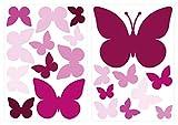 dekodino Sticker mural papillons orchidée chambre d'enfant décoration set