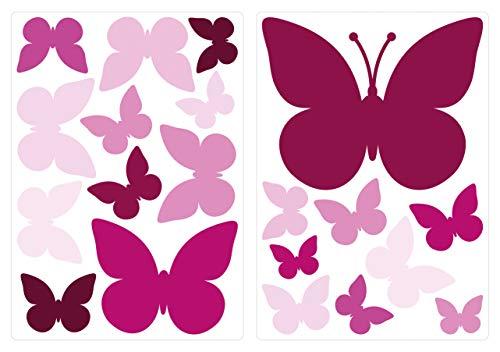 dekodino® Wandtattoo Schmetterlinge Orchidee Wandsticker Deko Set