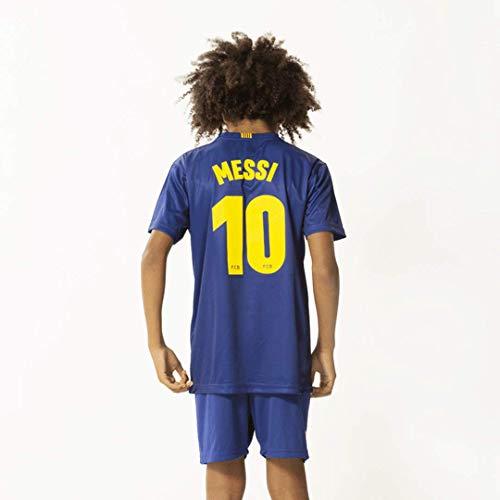 Morefootballs - Offizielles Lionel Messi FC Barcelona Heimspiel Trikot Set für Kinder - Saison 19/20 - Größe: 128 - Heim Tenue mit Messi Nummer 10 Trikot und kurzer Hose - Fussball Shirt und Shorts