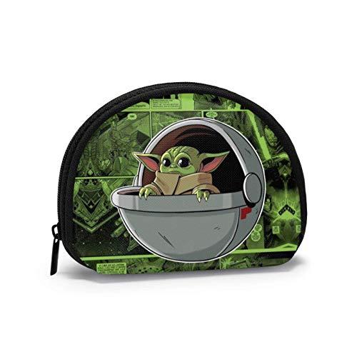 Mandalorian Yoda Comic Frauen Männer Mode Geldbörse Tragbare Shell Aufbewahrungstasche Schmuckbeutel Schlüsselhalter Kopfhörer Multifunktionale Taschen
