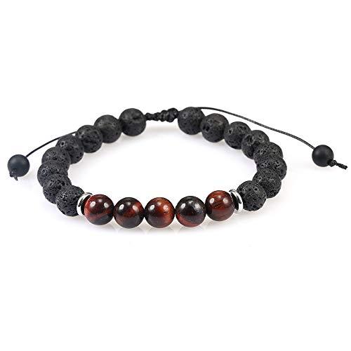 hjkg Pulsera De Cuentas 8 Mm Lava Tiger Eye Stone Charm Bracelet Moda Elástica Amistad Pulseras Rojas Y Negras para Mujeres Diseñador Novio Regalo Joyería