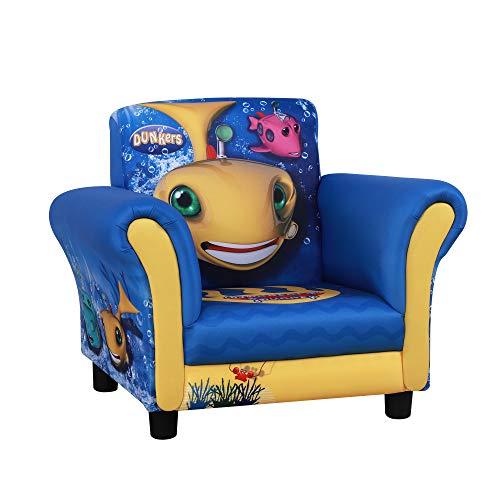 HOMCOM Kindersessel, Kindersofa,Kinderzimmer Sofa, Mini-Sofa-Sessel mit Holzstruktur und Kunststoff rutschfeste Füße, Polyester, Gelb+Blau, 59,5 x 43 x 46,5 cm