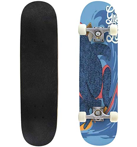 Classic Concave Skateboard Cute Surfer Bear Vector Design Longboard Maple Deck Extreme Sports and Outdoors Double Kick Trick for Beginners and Professionals