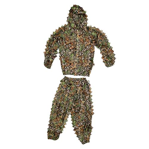 Perfeclan Hunting clothes New 3D Leaves Tree Ghillie Suits Sniper Birdwatch Camouflage Clothing Jacket and Pants - Kids