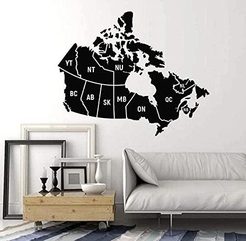 Mural de vinilo pegatinas de pared autoadhesivas a prueba de agua mapa de Canadá escuela sala de estar dormitorio texto de arte canadiense 42X50Cm