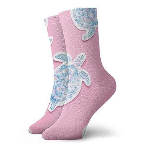 BEDKKJY roze schattige schildpad Sticker muur volwassen korte sokken katoen leuke sokken voor mannen Womens Yoga wandelen fietsen hardlopen voetbal sport