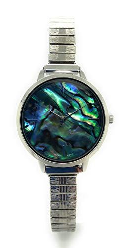 Ladies Abalone Shell Dial Elegant Elastic Band Fashion Watch Qrtz...