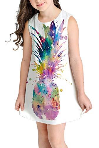 Ocean Plus Niña Verano Casual Vendimia Vestidos Sin Mangas Flamenco Patrón Lindo Impreso Rodilla Larga Gatito Tramo Partido Dress (S (Altura: 135-145 cm), Piña de Color)