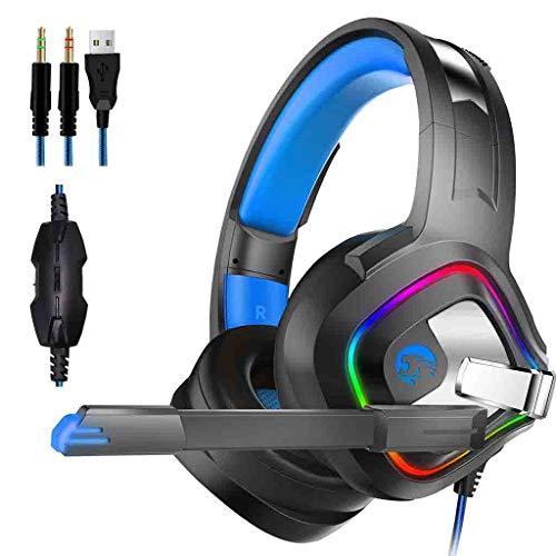 Ps4 Gaming Headset con micrófono Negro, Auriculares para Juegos sobre la Oreja, cancelación de Ruido con luz LED sobre la Oreja, para Xbox One PC Tableta portátil Mac Teléfono Inteligente