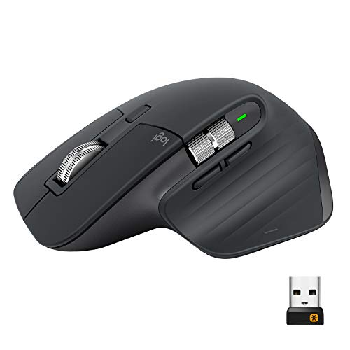 Logitech MX Master 3 Advanced Wireless Mouse, Bluetooth or 2.4GHz USB Receiver, Ultrafast Scrolling, 4000 DPI Any Surface Tracking, Ergonomic, 7 Button, Rechargeable, PC/Mac/Laptop/iPadOS - Dark Grey