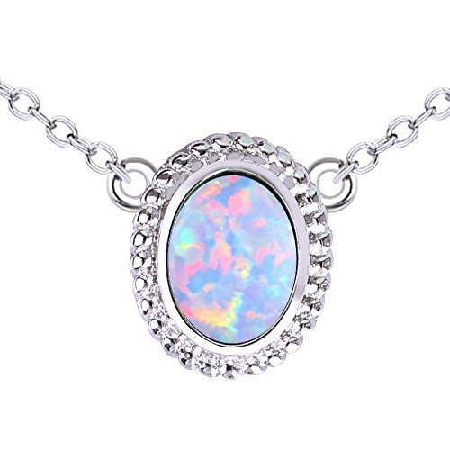 KELITCH Halsketten Zum Mädchen Oval Synthetik Weiß Opal Anhänger Halskette Silber 925 Überzogen Zum Frau