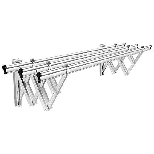 Ljings Estante Secado Ropa Fácil Almacenamiento Plegable, Estante Secado Montado Pared Acordeón, Estantes Ahorro Espacio,Plata,2m