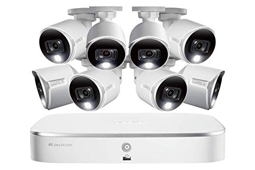 Lorex 4K HD Weatherproof Indoor/Outdoor Security System, 8 x 4K Ultra HD Bullet Cameras w/Advanced Motion Detection   Color Night Vision & Smart Home Compatibility (8 Pack)-Incl. 2TB 8-Channel DVR