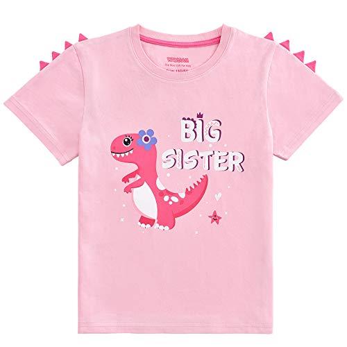 WAWSAM Camiseta de Hermana Mayor - Dinosaurio Trajes de Hermanos para Niñito Niña (Rosa, 4 años)