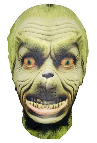The Grinch – Máscara de cabeza completa – tela elástica de licra estilo Morph – Disfraz de Halloween