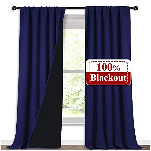NICETOWN 100% Blackout Curtains 108 inches Long, Noise Reduction Window Treatment Curtains, Thermal Insulated Energy Smart Drapes and Draperies for Apartment Decor, Navy Blue, Set of 2, 52 inches