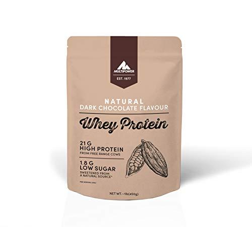 Multipower Whey Protein Natural Eiweißpulver, Proteinpulver aus hochwertigem Molkenprotein, ideal zum Muskelaufbau, Dark Chocolate