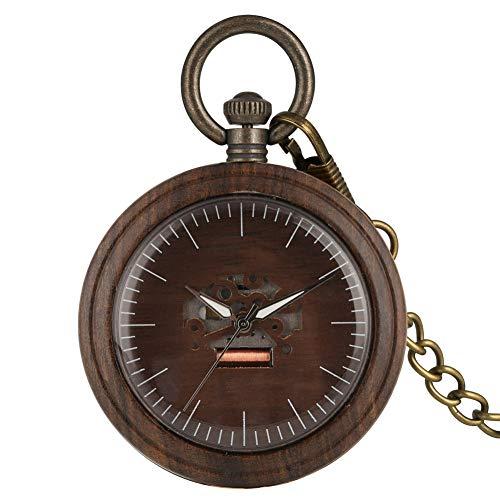 XVCHQIN Vintage Madera Redonda Esfera punteros Luminosos Reloj de Bolsillo de Cuarzo Relojes únicos de Madera Reloj de Cadena para Hombres Mujeres, marrón