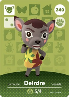 Deirdre - Nintendo Animal Crossing Happy Home Designer Amiibo Card - 240