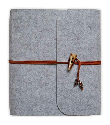 Danzetta Fotoalbum aus Filz Hellgrau 24x27 cm mit 30 Foto Einlageblättern, 60 Seiten zum selbst gestalten, Hochzeit Album DIY Familienfoto Fotobuch zum Einkleben