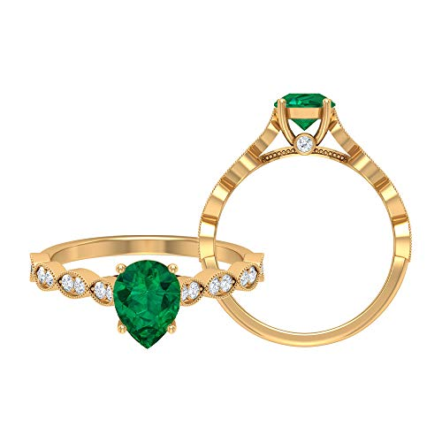 Rosec Jewels - 6X8 MM Pear Cut Green Tourmaline Solitaire Ring with Moissanite Side Stones, Gold Engagement Ring (AAA Quality), 14K Yellow Gold, Size:UK -1