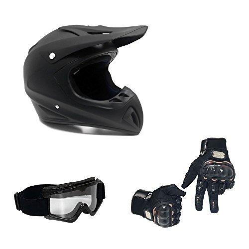 MMG 30 Combo Adult Motorcycle Off Road Helmet DOT, MX ATV Dirt Bike Motocross UTV (Large, Matte Black) with Riding Gloves and Goggles