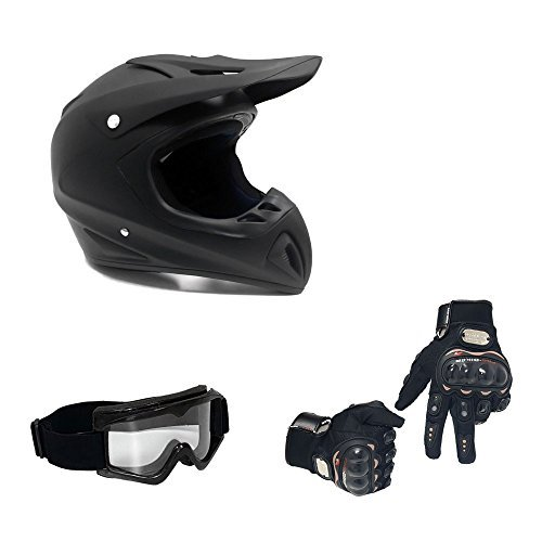 MMG 27 Combo Adult Motorcycle Off Road Helmet DOT, MX ATV Dirt Bike Motocross UTV, M, Matte Black, Includes Riding Gloves and Goggles