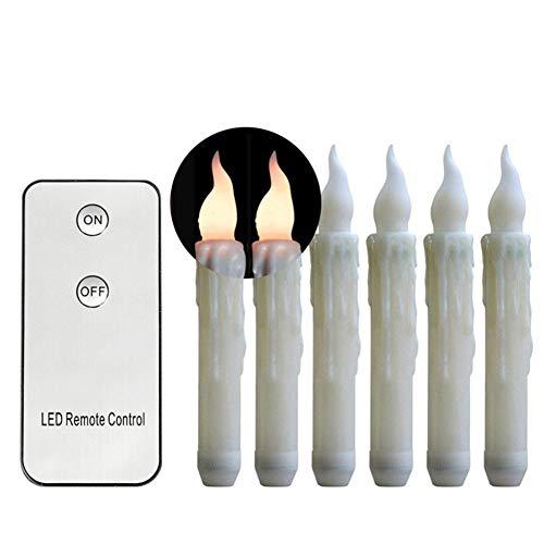 Lacgo (6 pièces/lot) alimentés par piles 17,8 cm 18 cm avec télécommande à distance, bougies à effilocher, pour usage intérieur/extérieur (blanc chaud)