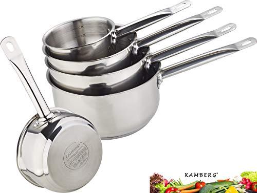 Kamberg - 0008077 - Gamme Pro Set / lot / batterie 5 Casseroles 12/14/16/18/20 cm - Acier Inoxydable Haute Qualité - Poignée anti chaleur Argent - Tous feux dont induction
