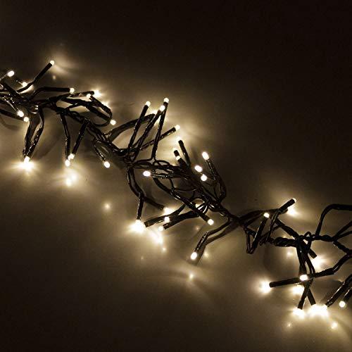 Cluster Lichterkette 768 LEDs 5,6m Warmweiß mit Fernbedienung Dimmer Timer 8 Lichteffekte Innen und Außen Beleuchtung Deko Weihnachten
