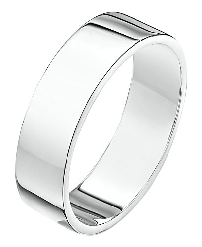 Theia Unisex Super Heavy Flat Shape Polished 18 ct White Gold 5 mm Wedding Ring - Size L