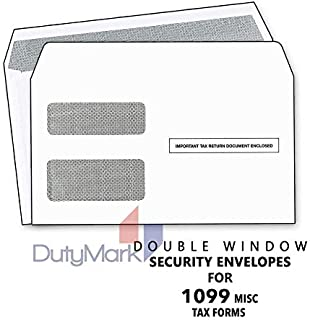 Tax Envelopes for ~1099 MISC and 1099-R & DIV - INT~ Double-Window Security Self-Seal Envelope-25pk-1099 Envelopes 2019