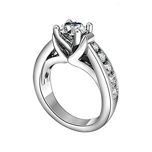 SonMo Ring 925 Sterling Silber Trauringe Paarringe Eheringe Solitär Ring Silber Weiß Damen Diamant...