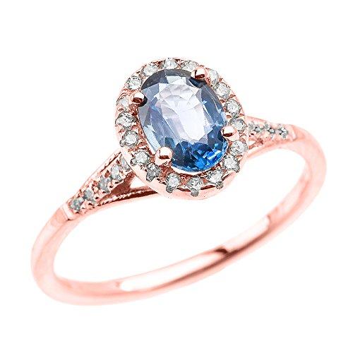 Rose 9 ct Gold Halo Solitaire Kanchanaburi Sapphire and Diamond Proposal Ring QII
