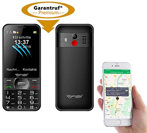 simvalley MOBILE Handy GPS: Komforthandy mit Garantruf Premium, XL-Farbdisplay, GPS-Tracking & App (Seniorenhandy GPS)
