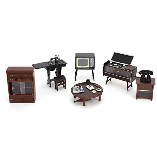 6 Piezas 1:18 Juego de Muebles en Miniatura de Casa de Muñecas Simulación Mini Vintage Japonés Modelo de Muebles de Plástico Adorno de Muebles de Comedor