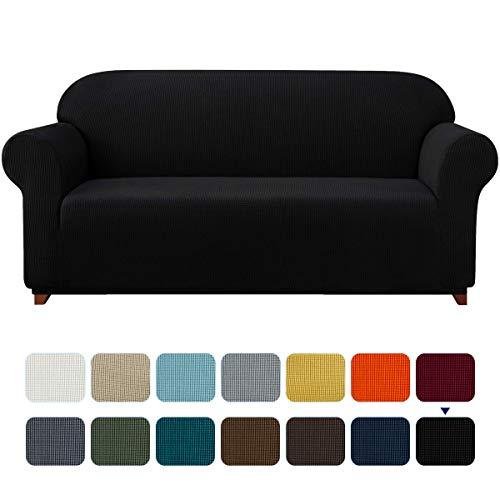 subrtex Spandex Sofabezug Stretch Sofahusse Couchbezug Sesselbezug Elastischer Antirutsch Stretchhusse für Sofa (3 Sitzer, Schwarz)
