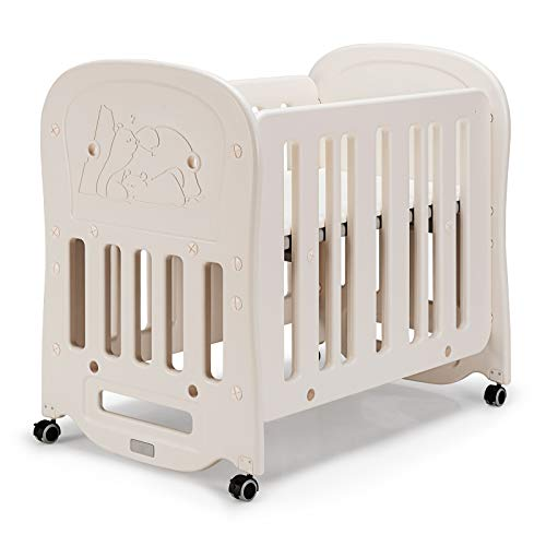 Maxmass 3-in-1 Baby Bed Crib, Convertible Cots Bed with Mattress, Detachable and Lockable Wheels, Toddler Cot Cradle as Sleeping Bed, Playard or Rocking Crib