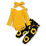 Renotemy Infant Baby Clothes Girl Newborn Outfits Long Sleeve Romper Pants Set 0-3 Months Baby Girl Clothes Outfit Sets