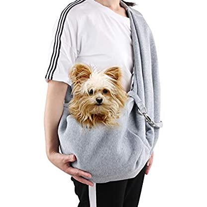 Pet Sling Carrier, Reversible Pet Sling Carrier Hands-Free Pet Dog Cat Carrier Bag Double-Sided Pouch Single Shoulder Bag Pet Soft Comfortable Travel Carrier Bag for Puppy Kitten Rabbit 1