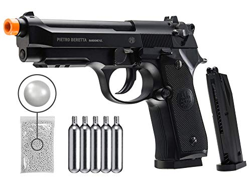 Wearable4U Umarex Beretta M92 A1 CO2 Blowback Auto/Semi CO2 Airsoft BB Pistol Airsoft Gun with Included Extra Extended 42rd Mag and CO2 12 Gram (5 Pack) Pack of 1000ct BBS Bundle