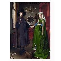 HZLYCH Van EyckArnolfini結婚式の肖像画キャンバスの絵画が壁に印刷されたリビングルームの装飾用の写真-50X70CMフレームなし