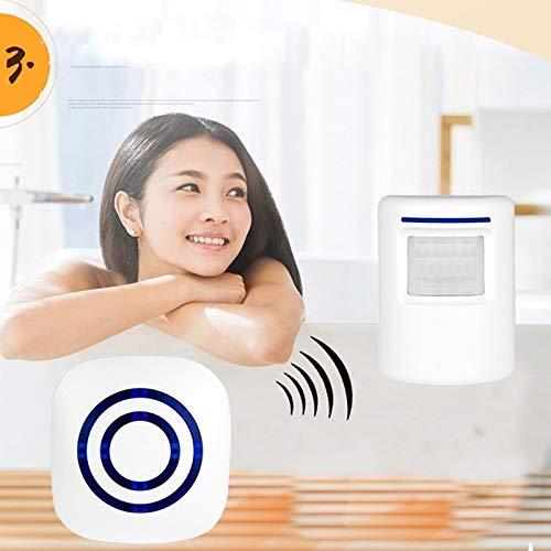 Surenhap Timbre de Puerta Inalambrico Alarma de Seguridad para el hogar con Detector de Movimiento con 38 Tonos de Timbre (1 * Sensores + 1 * Receptor)