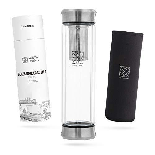 Botella de Agua termica infusor el + Filtro Colador para te infusiones + Inserto da Fruta sin BPA | Termo hermetico 550ml de Acero Inoxidable | Cantimplora aislada para Oficina, Colegio, Deporte