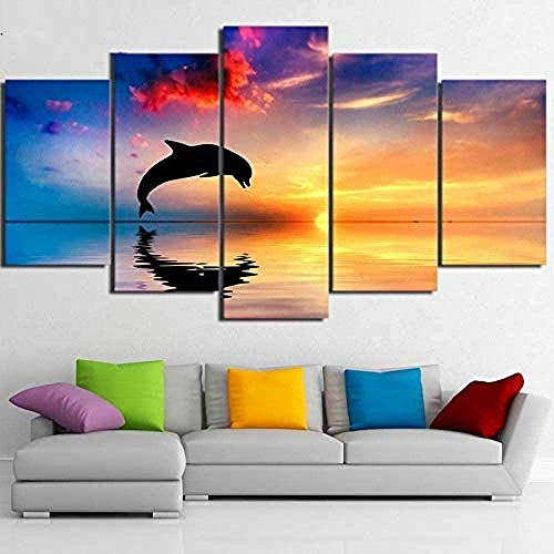 Bibilongbk 5 fotos consecutivas Hermoso y colorido atardecer marino con delfines saltando fotografía mural página de inicio Impresión en lienzo (100 x 50 cm sin marco)